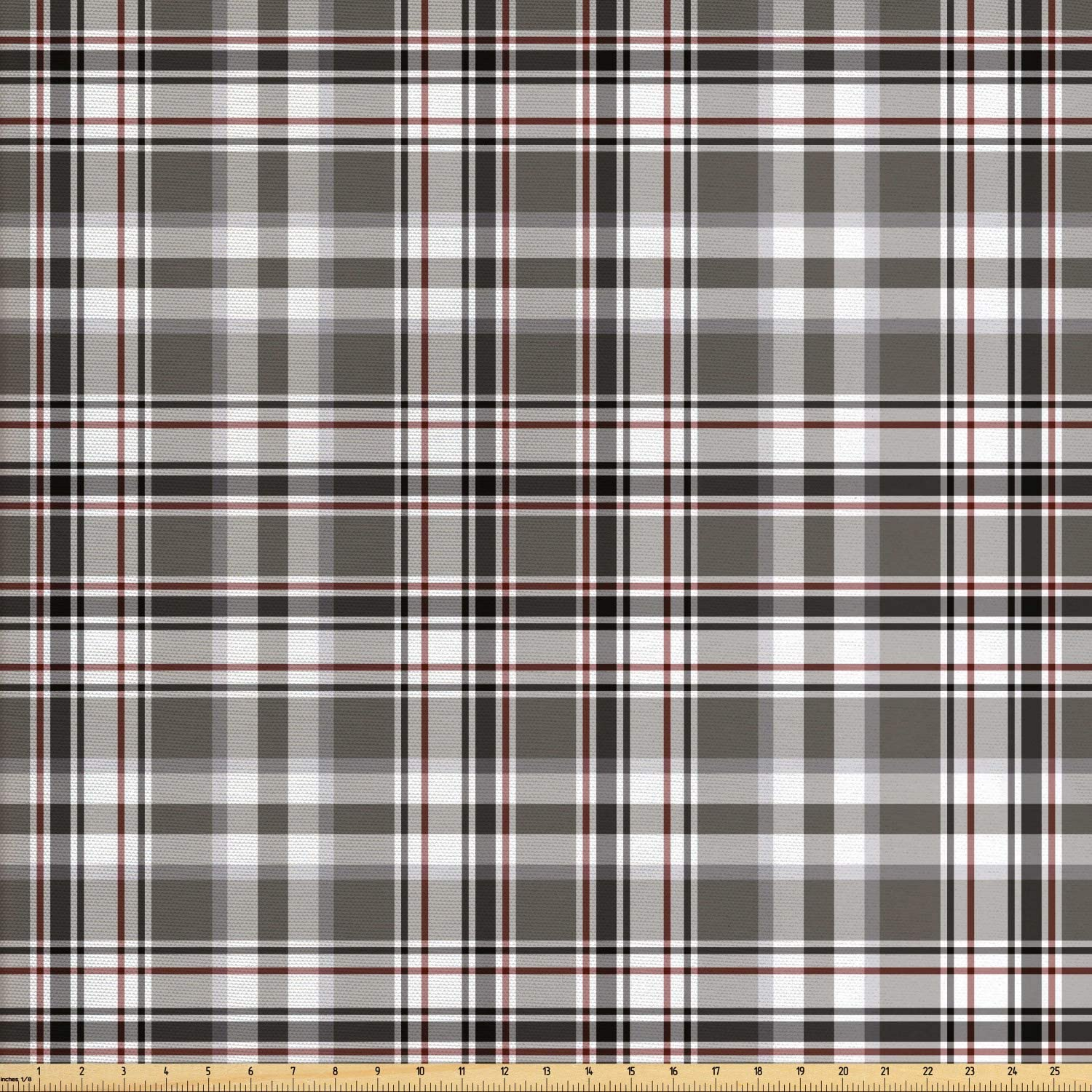 Lunarable Plaid Fabric by The Yard, Classic English Tartan Plaid Cells Stripes Scottish Geometric Traditional, Decorative Fabric for Upholstery and Home Accents, 1 Yard, Burgundy Black