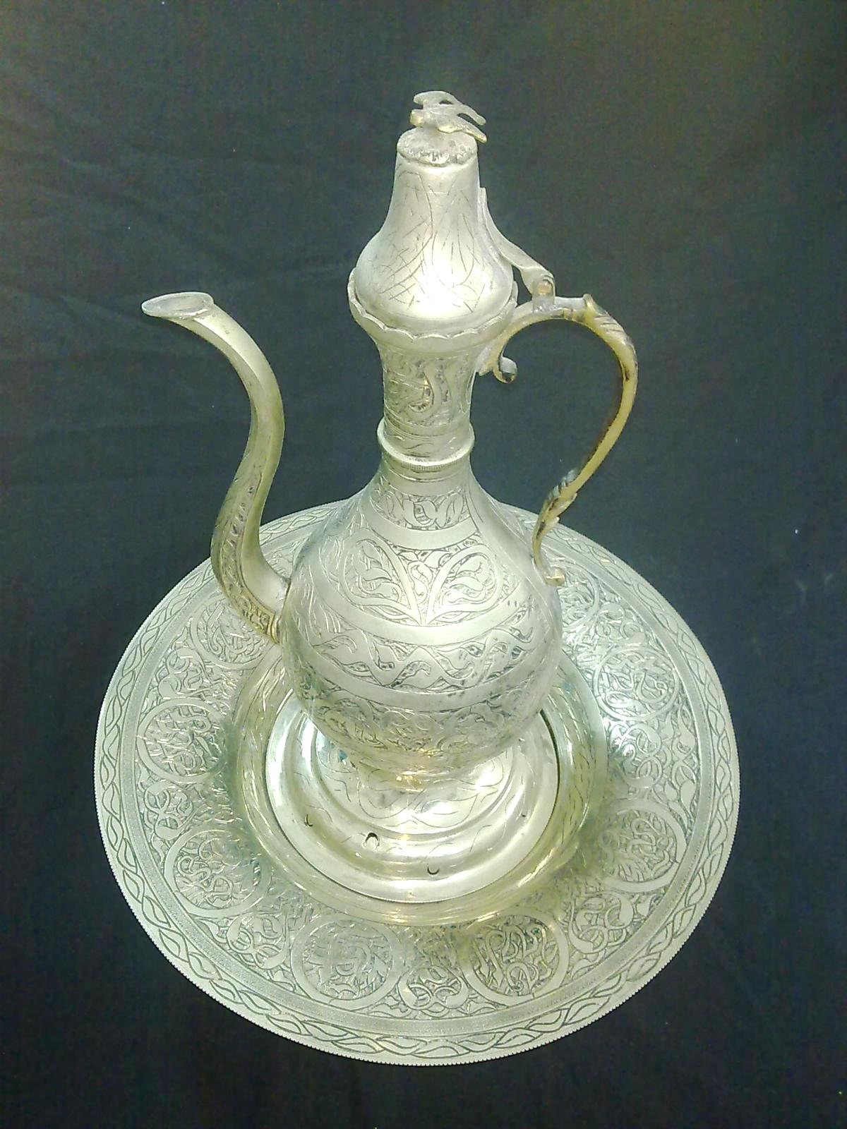 ANT17 Antique/Vintage Pewter Turkish/Ottoman Pitcher With Original Tray by Generic