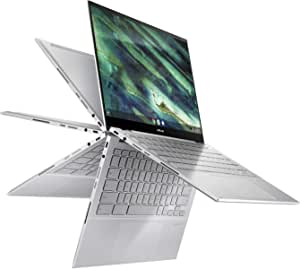 "ASUS Chromebook Flip C436 2-in-1 Laptop, 14"" Touchscreen FHD NanoEdge, Intel Core i5-10210U, 512GB PCIe SSD, Fingerprint, Backlit Keyboard, Wi-Fi 6, Magnesium-Alloy, White, Chrome OS, C436FA-DS599T-W"