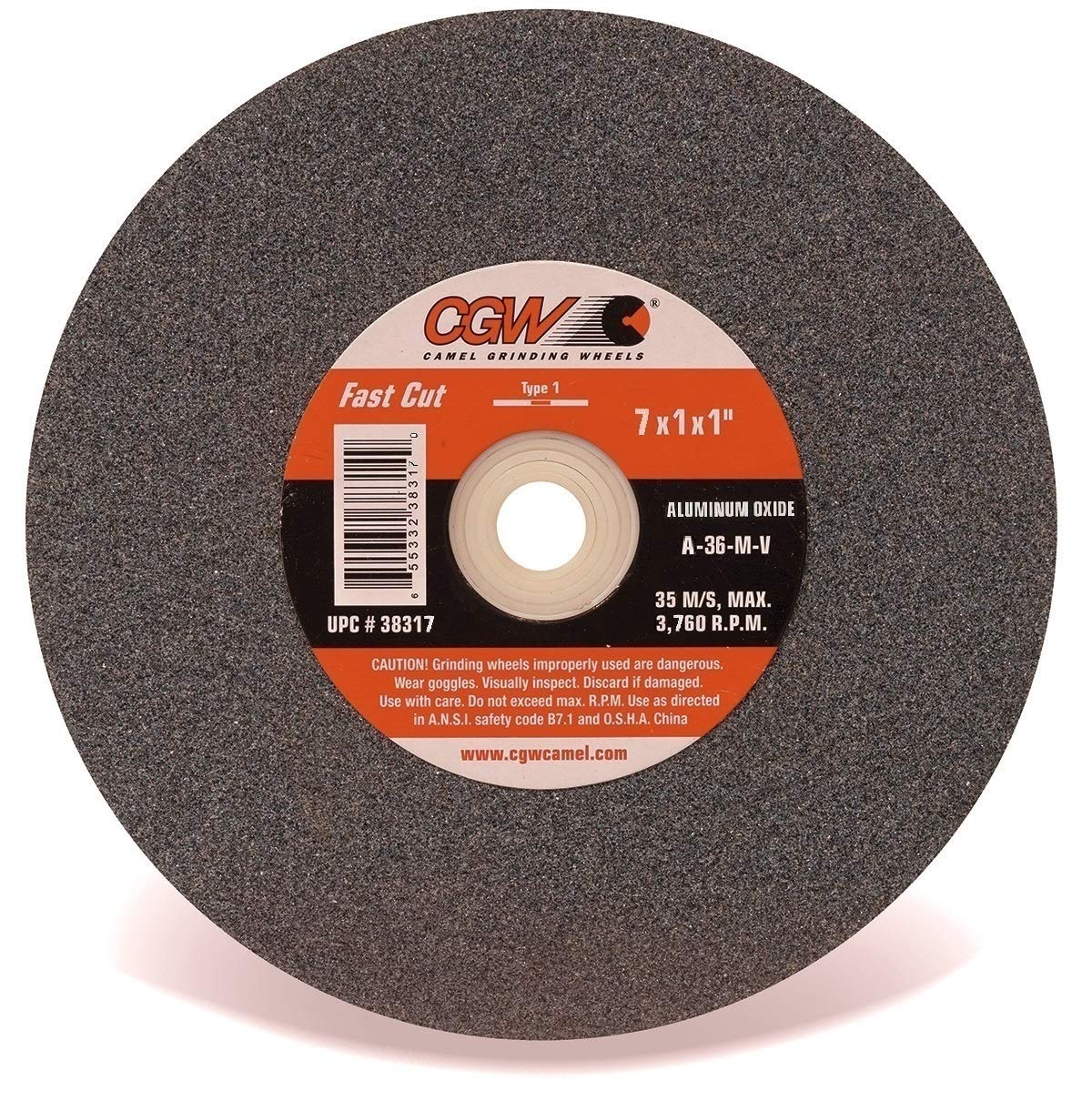 Aluminum Oxide Bench /& Pedestal Fast Cut Grinding Wheel Grit-36 3760 R.P.M. CGW One 7 x 7 X 1 Type-1