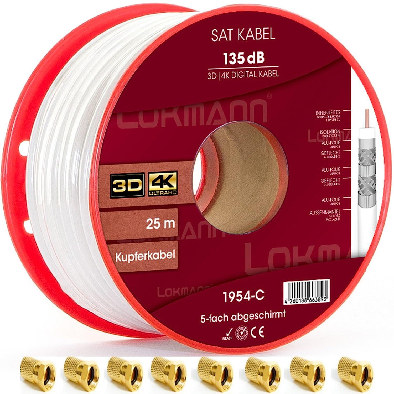 25 m Cobre Puro KU 135 dB apantallado, 5 de cable coaxial Cable coaxial SAT Cable de antena TV satélite Cable Full HD, UHD, 4 K, 8 K + velocidad, ...