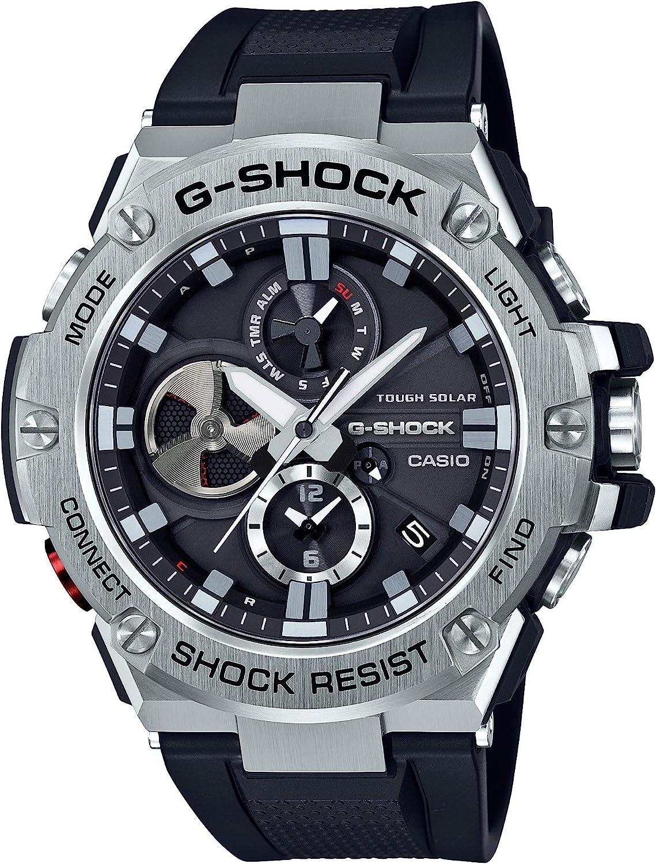 Casio Men s G-Steel by G-Shock Quartz Solar Bluetooth Connected Resin Dress Watch, Color Black Model GST-B100-1ACR