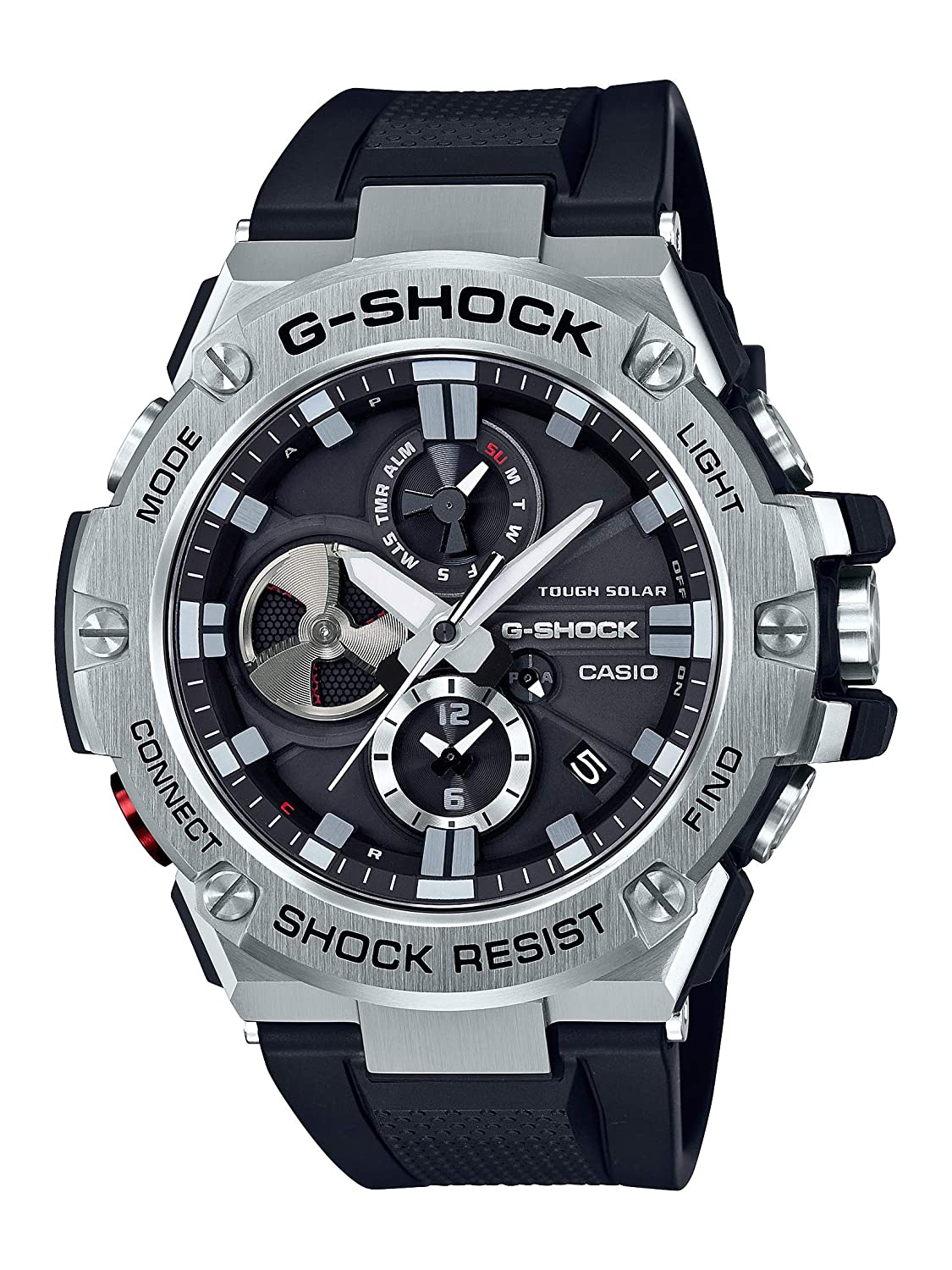 cd198dfac1ed Amazon.com  Casio Men s  G-Steel by G-Shock  Quartz Solar Bluetooth  Connected Resin Dress Watch