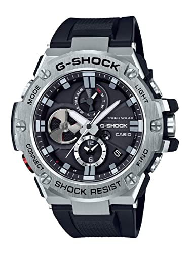 Casio Mens G-Steel by G-Shock Quartz Solar Bluetooth Connected Resin Dress Watch, Color: Black (Model: GST-B100-1ACR)