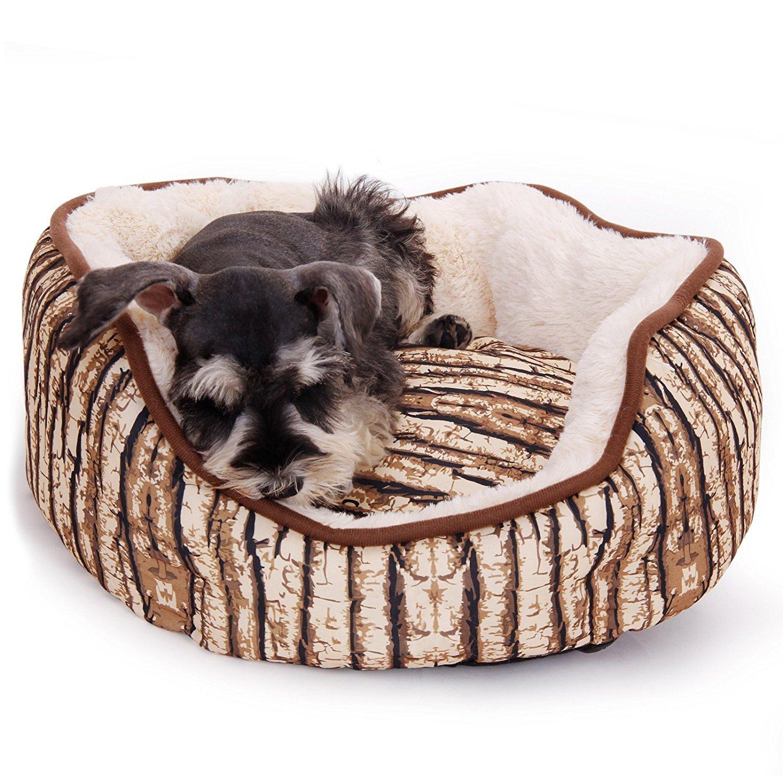 Round LPAWZ Road Large Dog Bed Cat Bed Old Bark Design Natural Tree Stripe MultiShape Size VAMBAYANG (Shape   Tree Stump, Size   M)