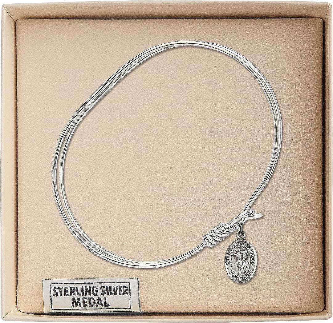 Paul of The Cross in Sterling Silver Bonyak Jewelry Oval Eye Hook Bangle Bracelet w//St