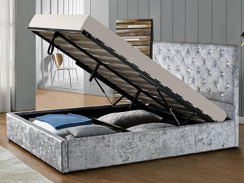 Silber gecrushter Samt Bett UK Double Stauraum Gas Lift Luxus Bett ...