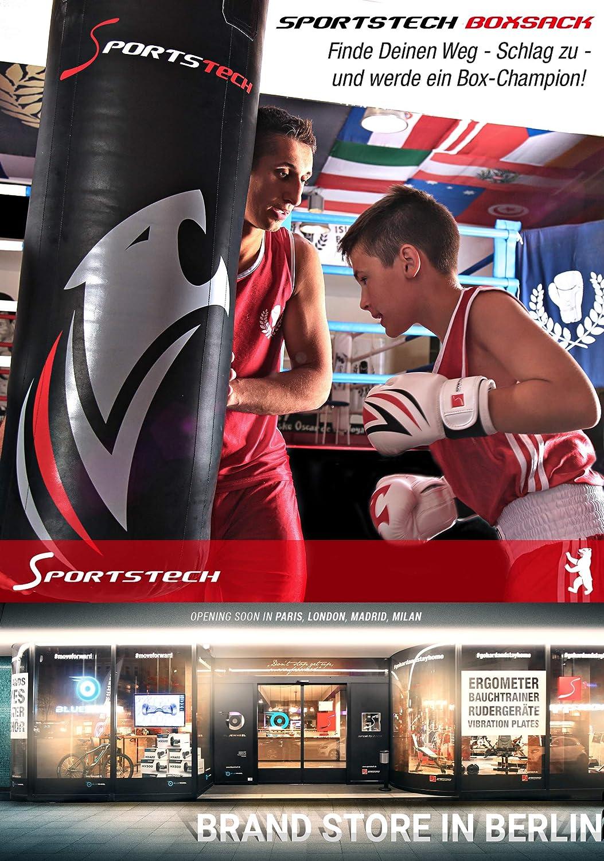 Sportstech Doppelverst/ärkter Kampfsport Boxsack mit 40cm Durchmesser /& Innovative F/ünfpunkte-Stahlke