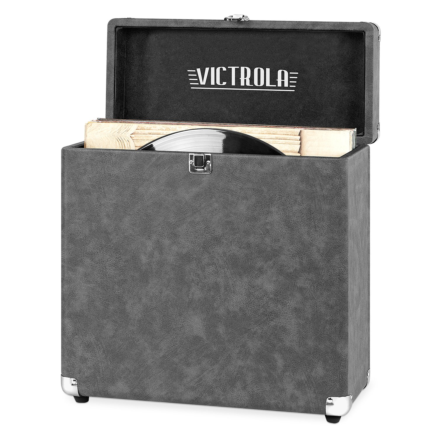 Victrola Vintage Vinyl Record Storage Carrying Case for 30+ Records, Gray by Victrola