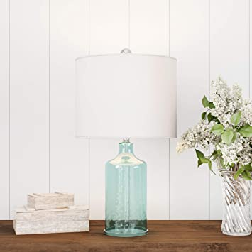 Rustic Cottage Styles Trademark 72-LMP1-1 Nautical Lavish Home Clear Glass Lamp-Open Base Table Light with LED Bulb and Shade-Modern Decorative Lighting for Coastal