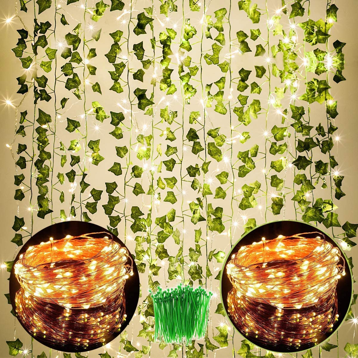 168 FT Artificial Ivy 24 Pack Ivy Vine Garland Ivy Leaves Greenery Garlands Hanging with 200 LED String Light Fake Leaf Plants Faux Green Flowers Decor for Home Kitchen Garden Office Wedding Wall