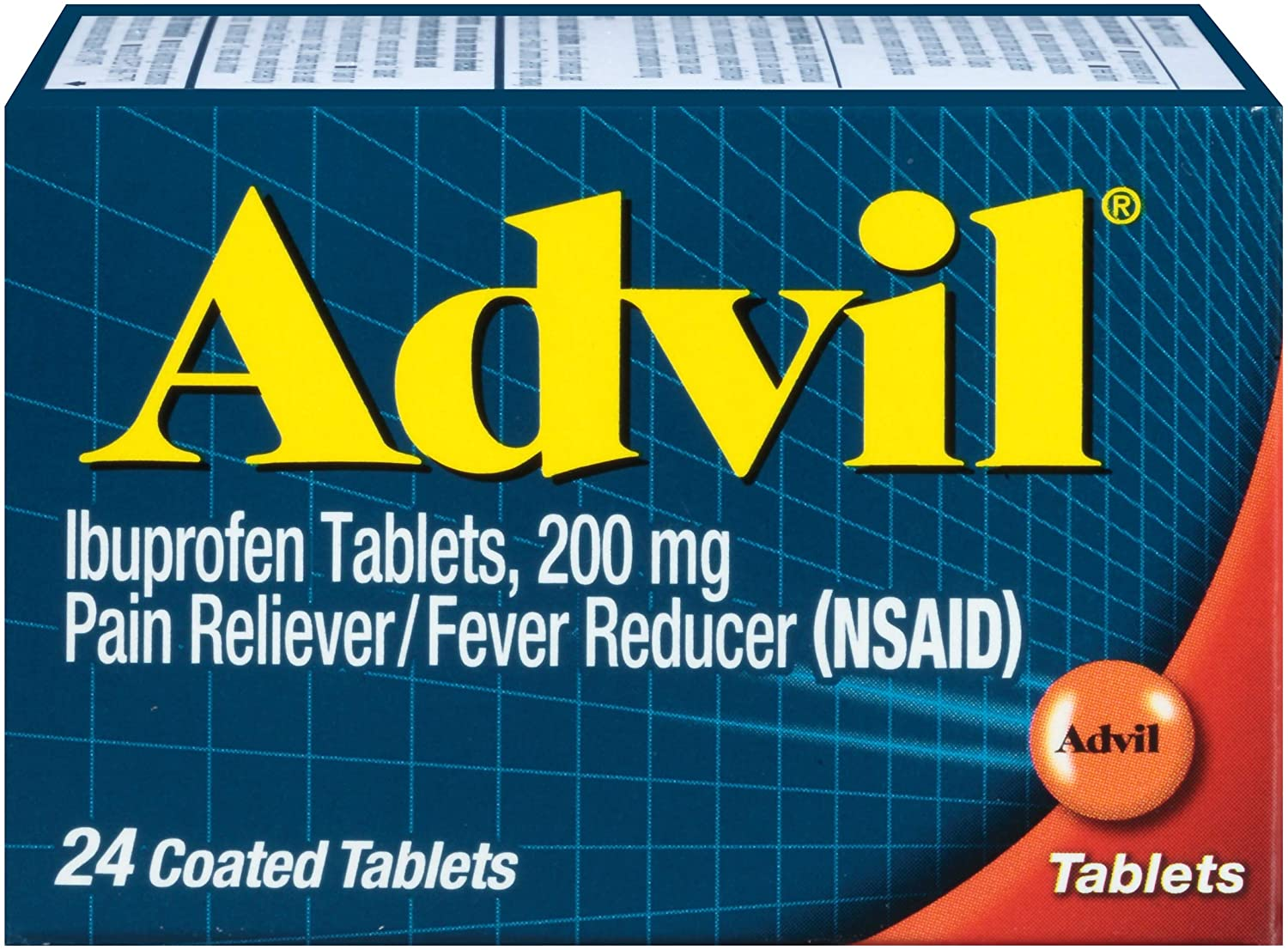 Advil Coated Tablets Pain Reliever and Fever Reducer, Ibuprofen 200mg, 24 Count, Fast-Acting Formula for Headache Relief, Toothache Pain Relief and Arthritis Pain Relief: Health & Personal Care