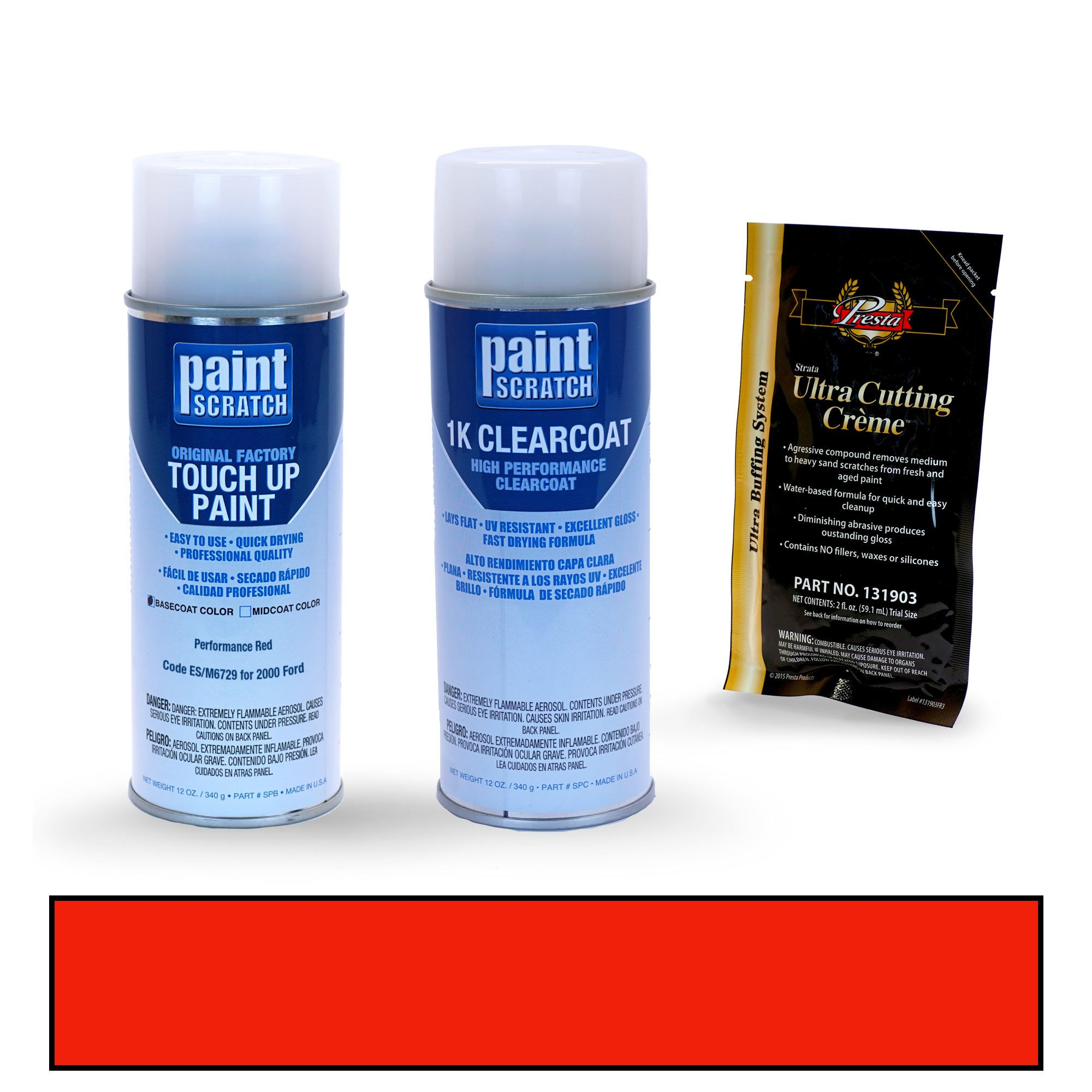 PAINTSCRATCH Performance Red ES/M6729 for 2000 Ford Mustang - Touch Up Paint Spray Can Kit - Original Factory OEM Automotive Paint - Color Match Guaranteed