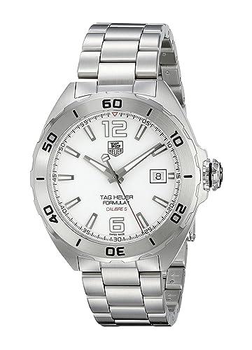 Tag Heuer Reloj de hombre automático analógico correa y caja de acero dial blanco WAZ2114.BA0875: Amazon.es: Relojes