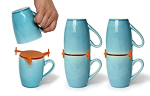 Coffee Mug Organizers and Storage, Kitchen Cabinet Shelf Organizer - Cupboard and Pantry Organization, Expandable Stackable Gadget For Tea Cup and Coffee Mugs, Save Space and Organize, 6pk (Orange)