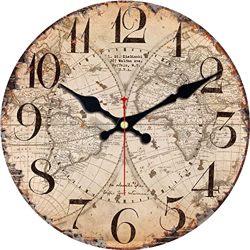MEISTAR Wall Clock 16 Inch Vintage Rustic Country Tuscan Style,World Map Pattern Arabic Numerals Design Quiet Non-Ticking Wooden Round Home Decoration Wall Clock