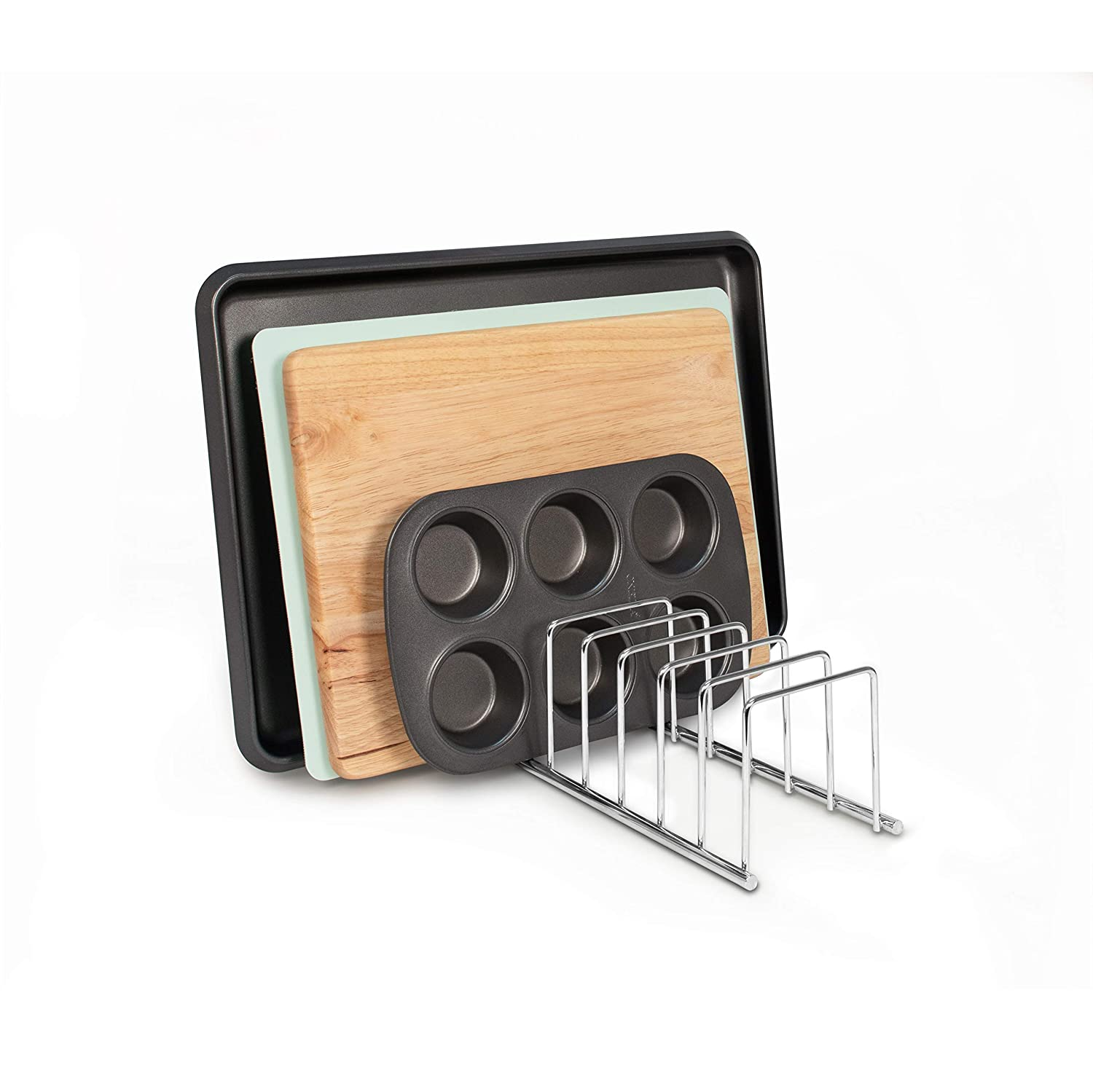 Spectrum Diversified St Bakeware Organizer Cutting Board Holder Louis Lid Organizer Chrome Cookie Sheet Organizer