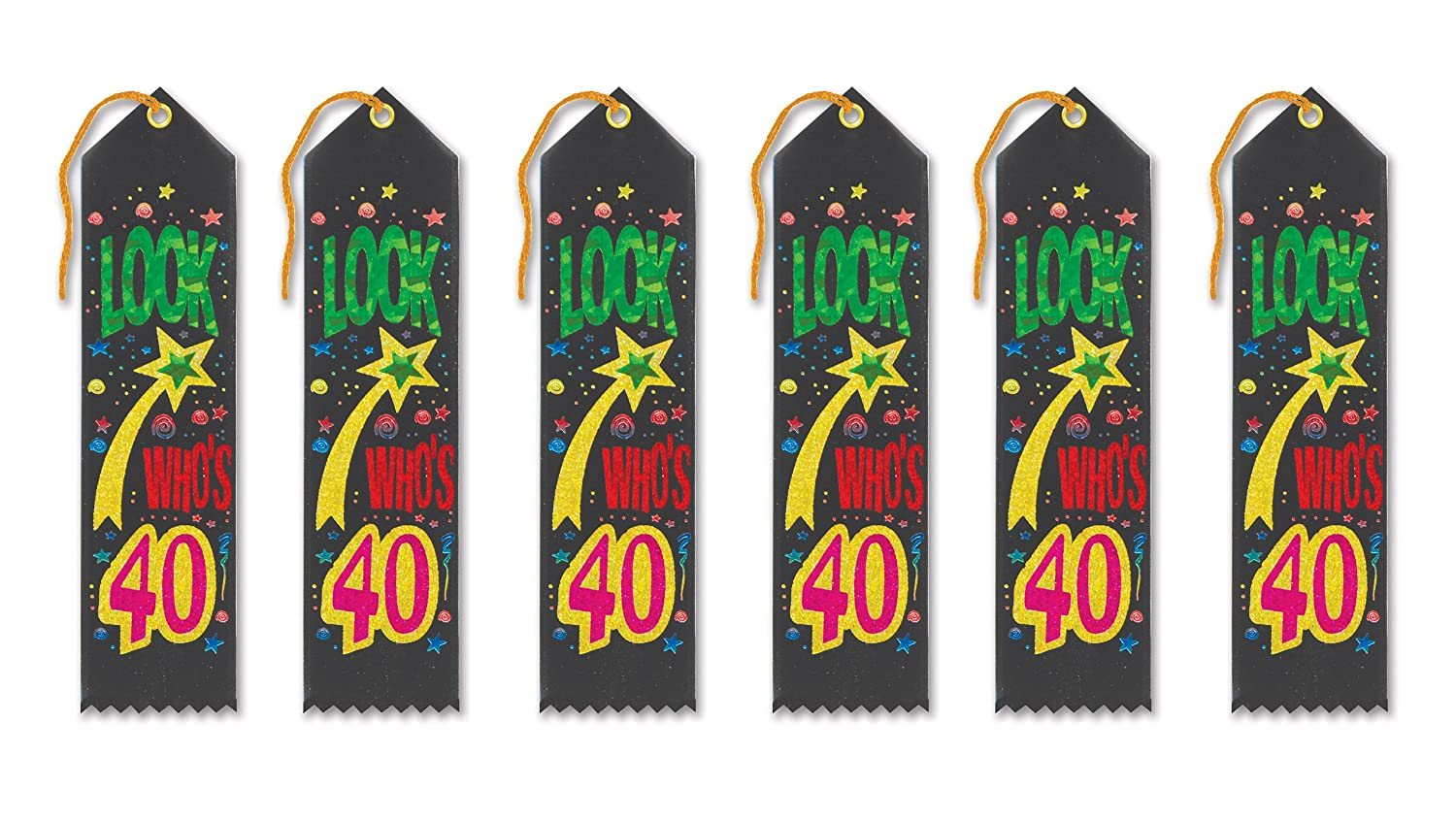 2-Inch by 8-Inch Beistle AR222 6-Pack Look Whos 40 Award Ribbon