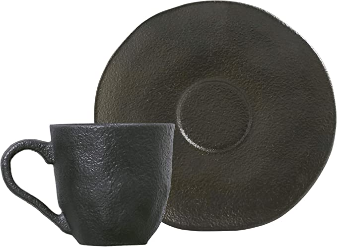 Conjunto com 6 Xícaras de Café com Pires Orgânico Copper 120 ml Porto Brasil Preto por Porto Brasil