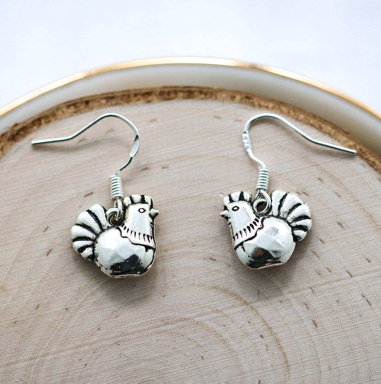 Chicken Earrings for Women - Chicken Farmer Gifts - 925 Sterling Silver Hooks - Chicken Jewelry