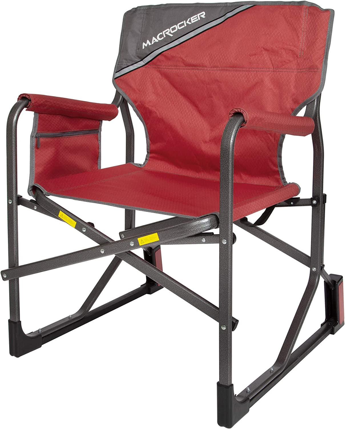 Mac Sports C2163A-100 MacRocker Foldable Outdoor Rocking Chair Collapsible Folding Rocker Springless Rust-Free Anti-Tip Guard for Camping Fishing Backyard Weight Capacity up to 225 lbs – Red