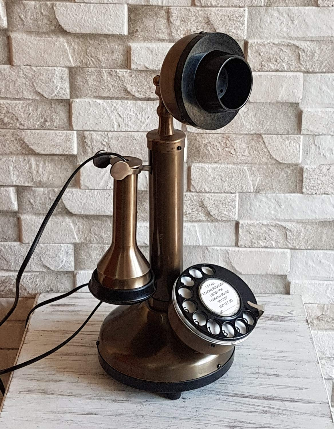 Candlestick Working Telephone Decor Home Vintage Style Decorative Antique Brass. by Decor n style store