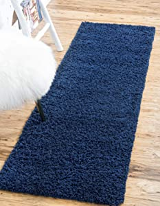 Unique Loom Solo Solid Shag Collection Modern Plush Navy Blue Runner Rug (2' 2 x 6' 5)