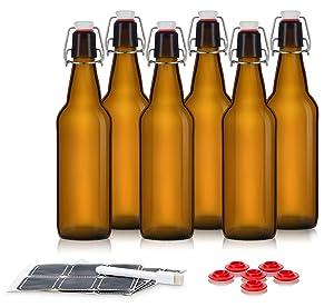 Swing Top Glass Bottles - Flip Top Bottles For Kombucha, Kefir, Beer - Amber Color - 16oz Size - Set of 6 Brewing Bottles - Leak Proof With Easy Caps - Bonus Gaskets - Fast Clean Design