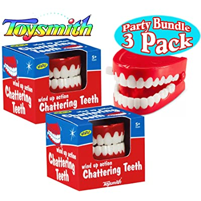 Toysmith Wind Up Chattering Teeth Party Set Bundle - 3 Pack: Toys & Games