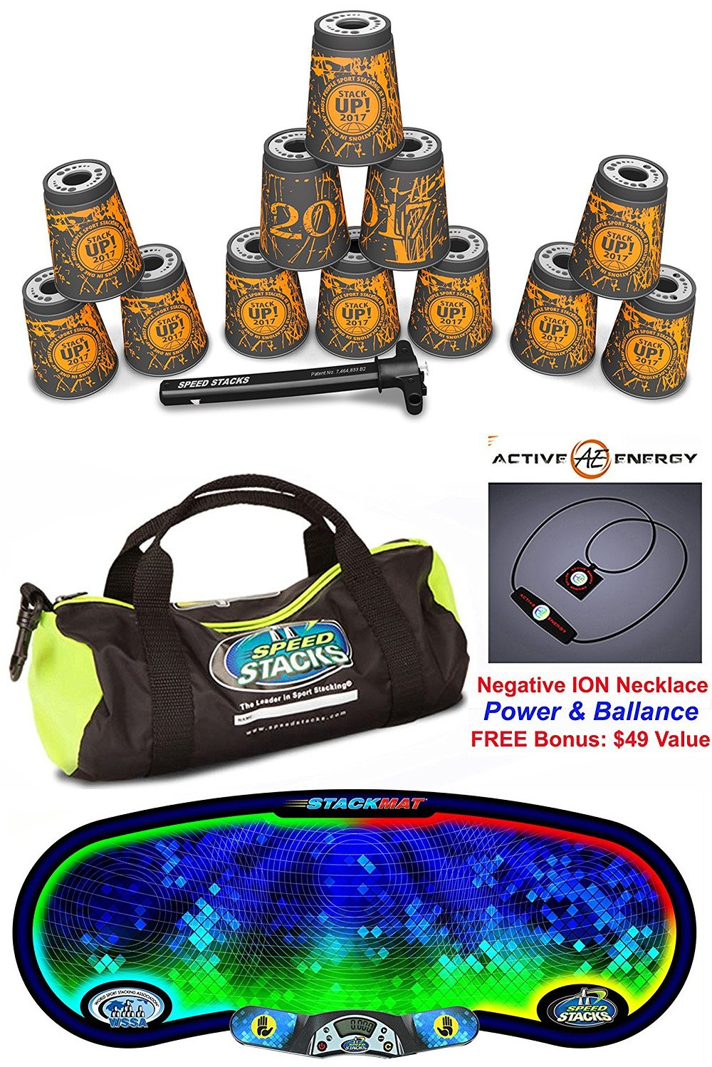 Speed Stacks The Works Custom Combo Set: 12 of 2017 STACK UP 4'' Cups, Cup Keeper, Quick Release Stem, Pro Timer G4, Gen 3 Mat, Gear Bag + Active Energy Necklace $49 Value