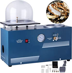 VEVOR Jewelry Lost Wax Cast Combination 2L Investing Casting Investment Machine 220V Vacuum Casting Machine 1/2 HP 3 CFM for Invested Flasks and RTV Molds