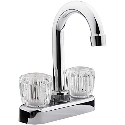 Dura Faucet DF-PB150A-CP RV Bar Faucet with Crystal Acrylic Knobs - 6-inch Spout (Chrome): Automotive