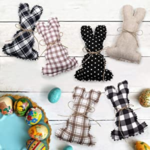 Stuffed Fabric Bunnies, Farmhouse Rustic Bunny Decor for Spring Easter Basket Bowl Fillers Tiered Trays Rabbit Collections, 6 PCS