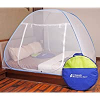 Classic Mosquito Net Foldable King Size (Double Bed) With Saviours - Blue
