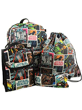 Amazon.com   Star Wars 5 piece Backpack and Snack Bag School Set (One Size,  Black Multi)   Kids  Backpacks 74a30df3e9
