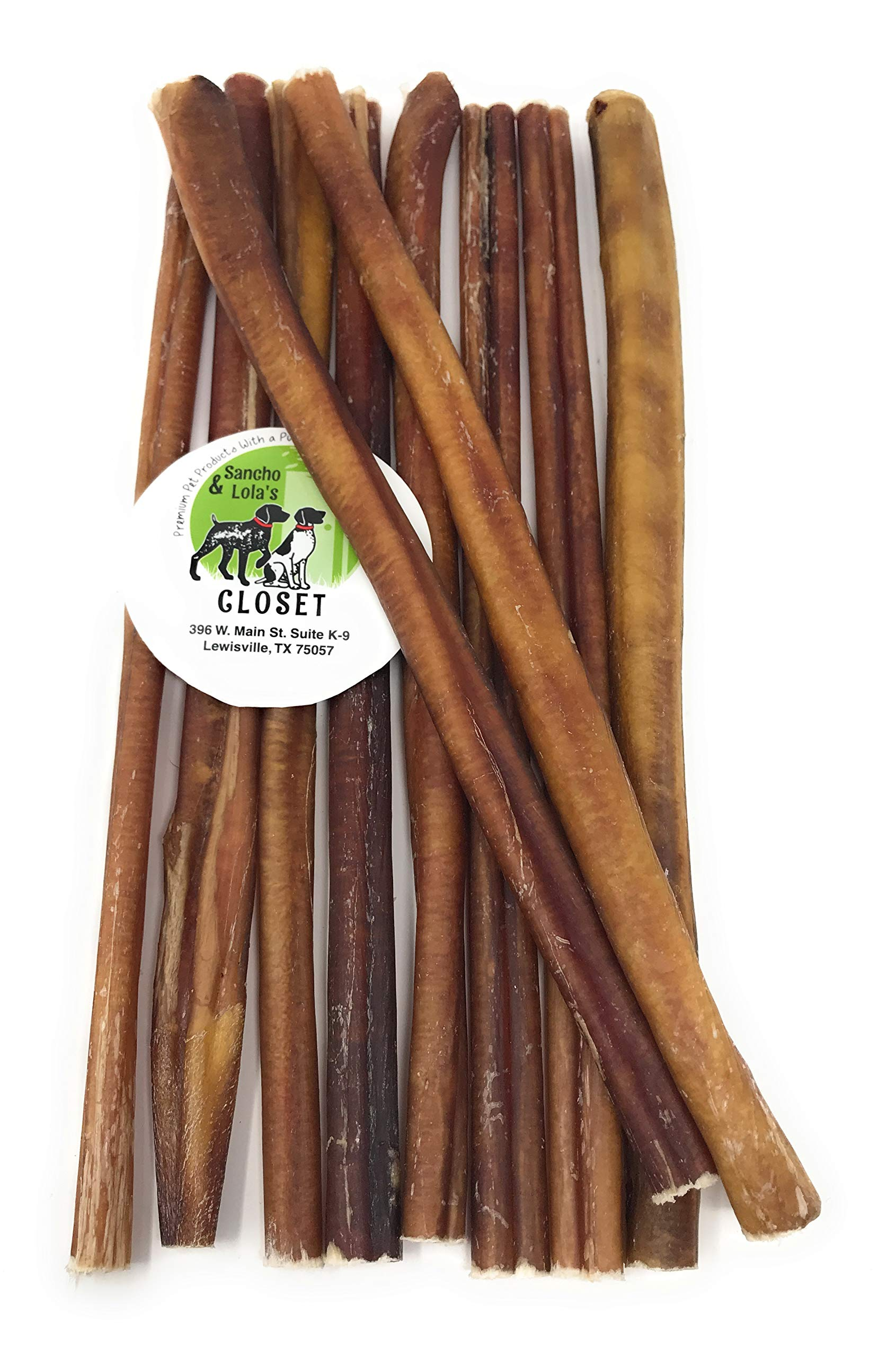 Sancho & Lola's Closet 12-inch Standard Bully Sticks for Dogs Made in USA- 20oz (10-11) Grain-Free All-Natural Dog Beef Pizzle Chews by Sancho & Lola's Closet
