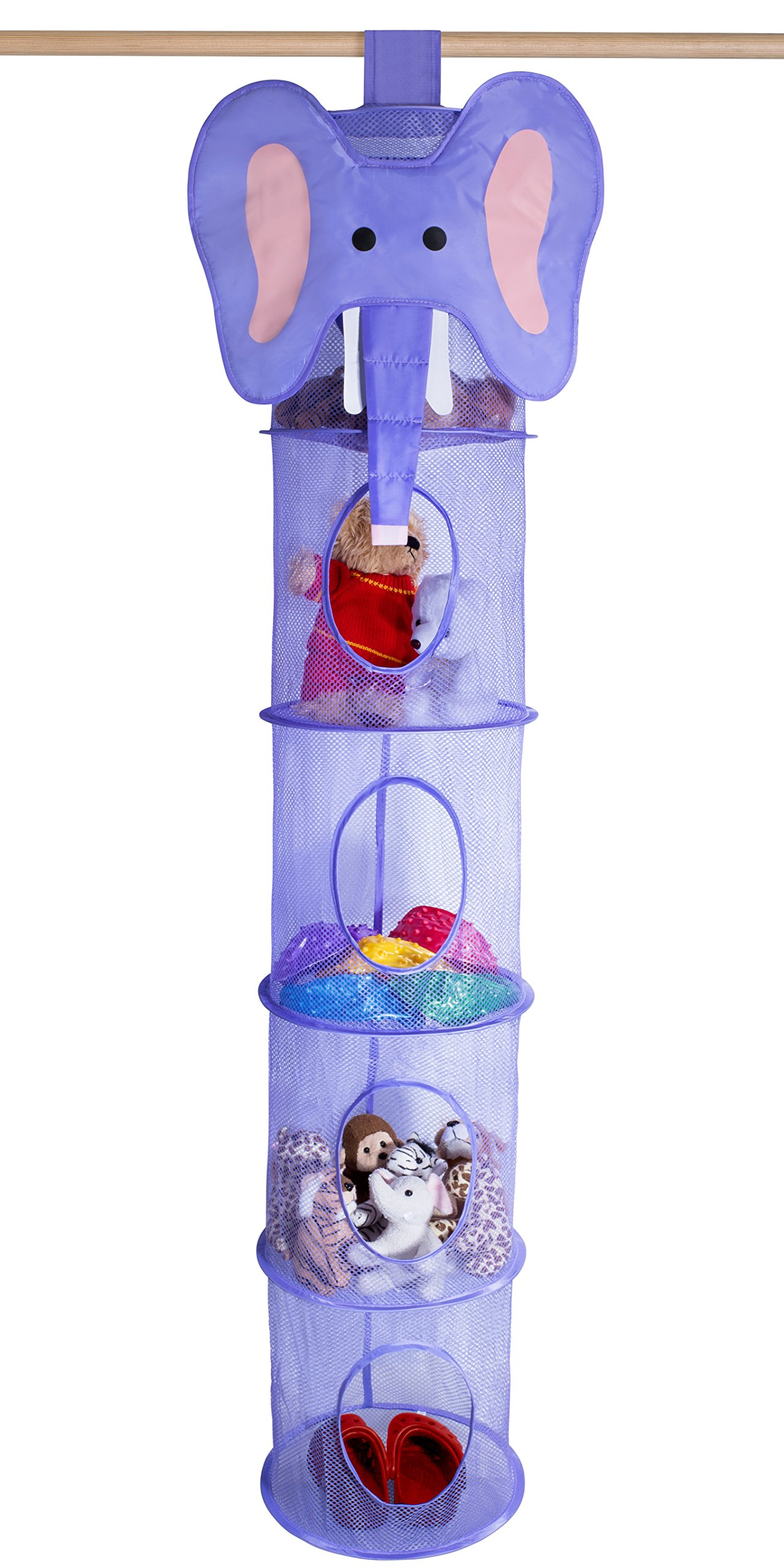 5 Tier Storage Organizer - 12'' X 59'' - Hang in Your Children's Room or Closet for a Fun Way to Organize Kids Toys or Store Gloves, Shawls, Hats and Mittens. Attaches Easily to Any Rod. (Elephant)