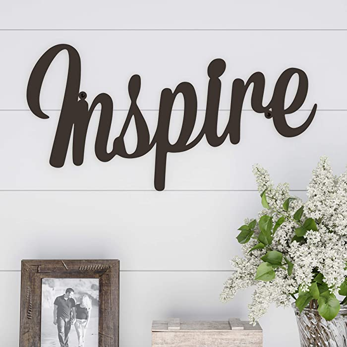 Lavish Home Metal Cutout-Inspire Wall Sign-3D Word Art Home Accent Decor-Perfect for Modern Rustic or Vintage Farmhouse Style