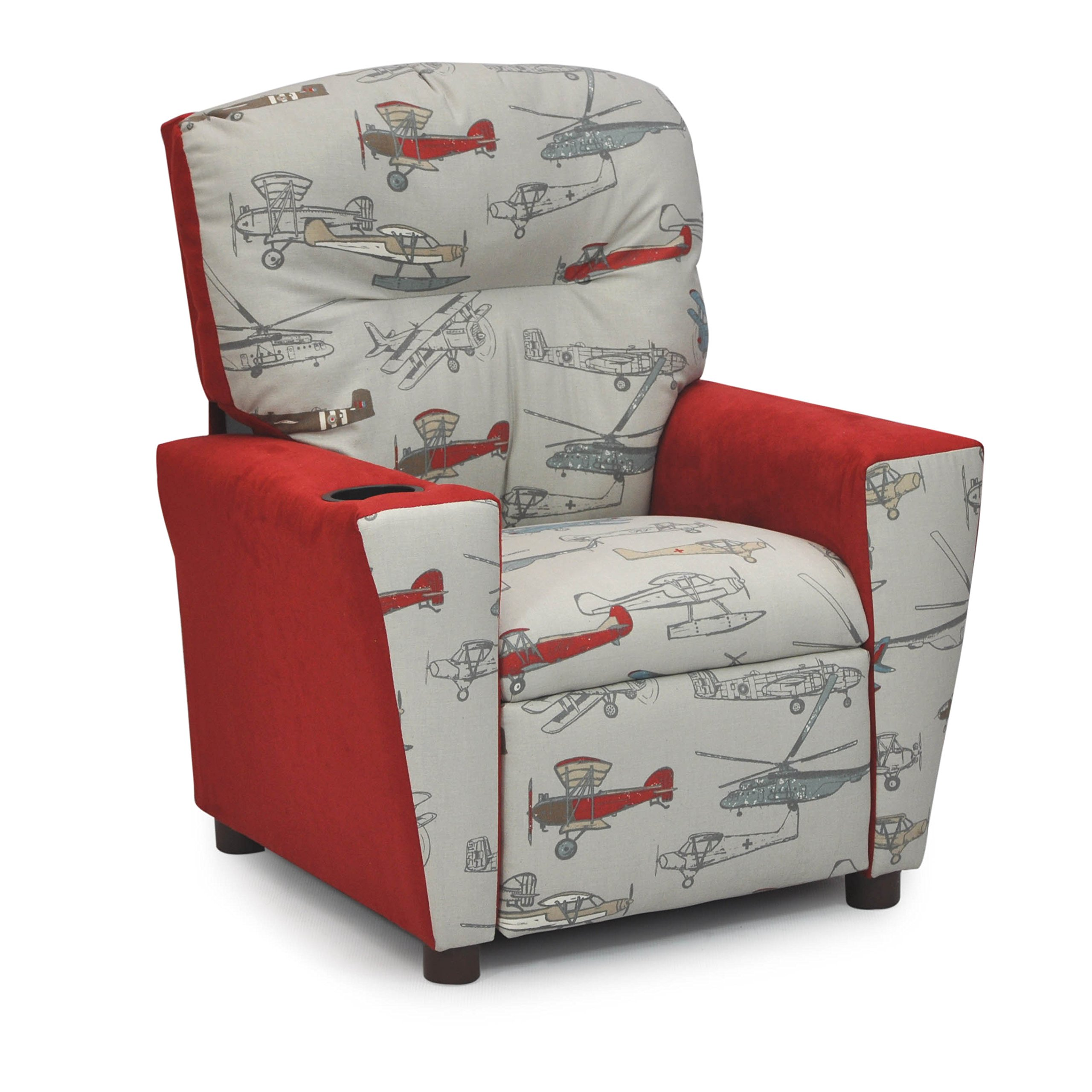 Childrens Recliner with Cup Holders - Santa's Favorite Juvenile Upholstered Chair - Best for Kids Room Decor Featuring Sports or Airplanes by Fun Future