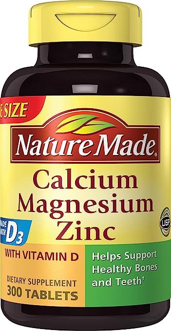 Nature Made Calcium Magnesium Zinc W Vitamin D Tablets Value Size 300 Ct