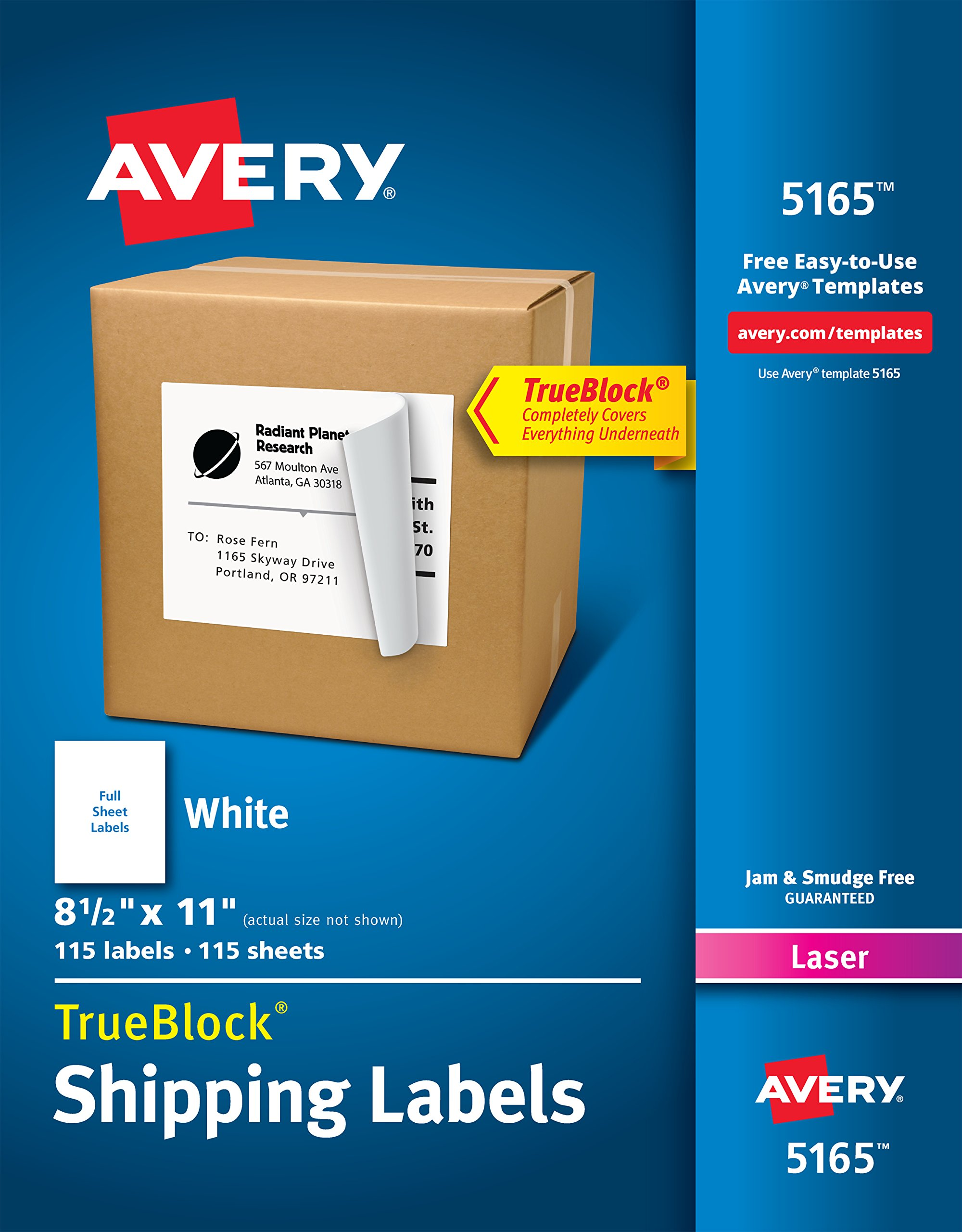 Avery Shipping Address Labels, Laser Printers, 115 Labels, Full Sheet Labels, Permanent Adhesive, TrueBlock (5165)