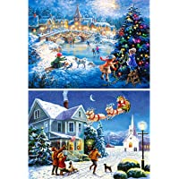 2 pezzi Christmas 5D DIY Diamond Painting Full drill rotonda, Aosika Christmas Nevaio vernice con cristalli di diamante per festival Home Wall Decor (30 x 40 cm)