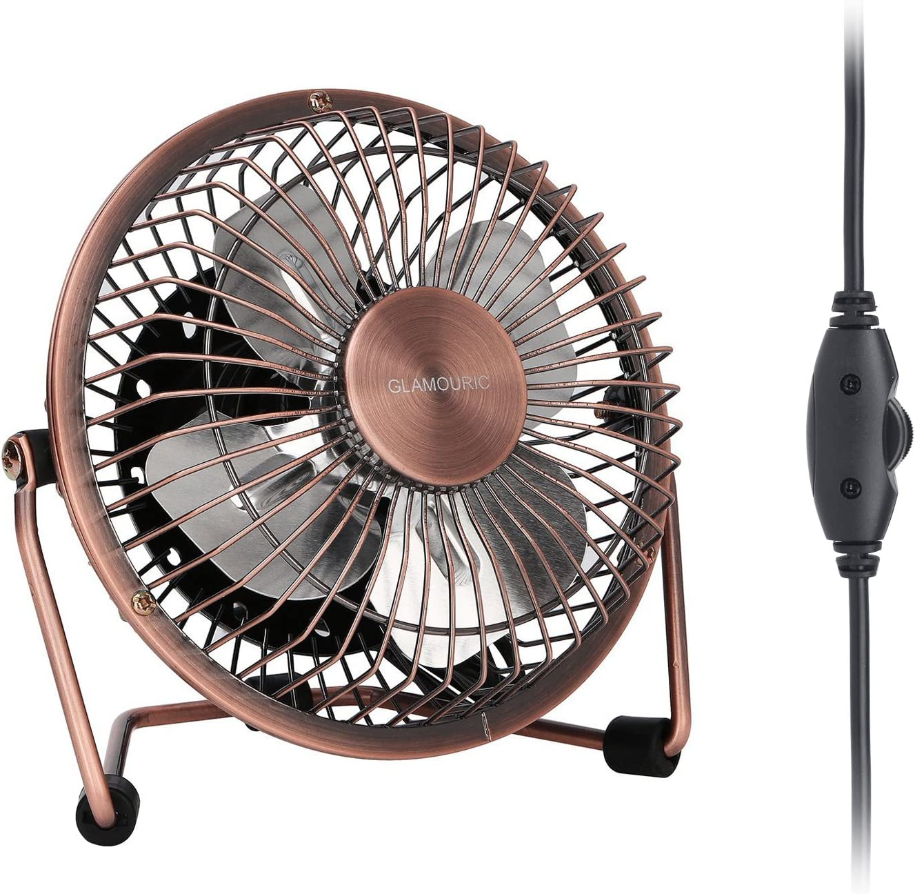 GLAMOURIC Desk Fan – USB Quiet Desk Fan Retro Design Equipped with speed regulator adjust speeds as you like for Work Home School Travel Bronze