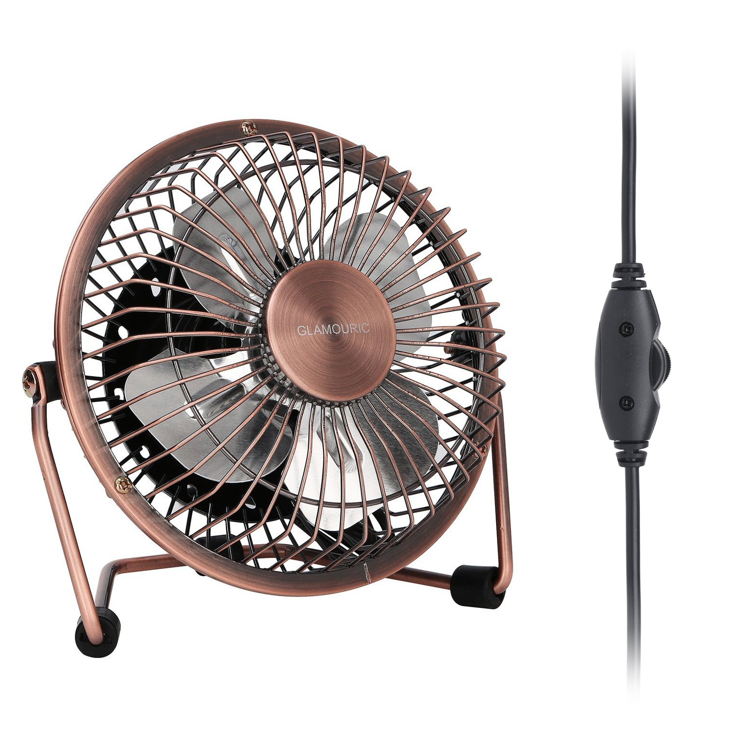 GLAMOURIC Small USB Desk Fan Mini Metal Personal Fan Retro Design Electric Portable Air Circulator Angle Adjustable Quiet Operation for Table Desktop Home Office Travel (Copper) COMINHKPR113259