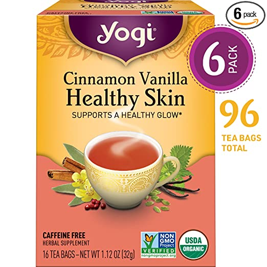 Yogi Tea - Cinnamon Vanilla Healthy Skin - Supports a Healthy Glow - 6 Pack, 96 Tea Bags Total