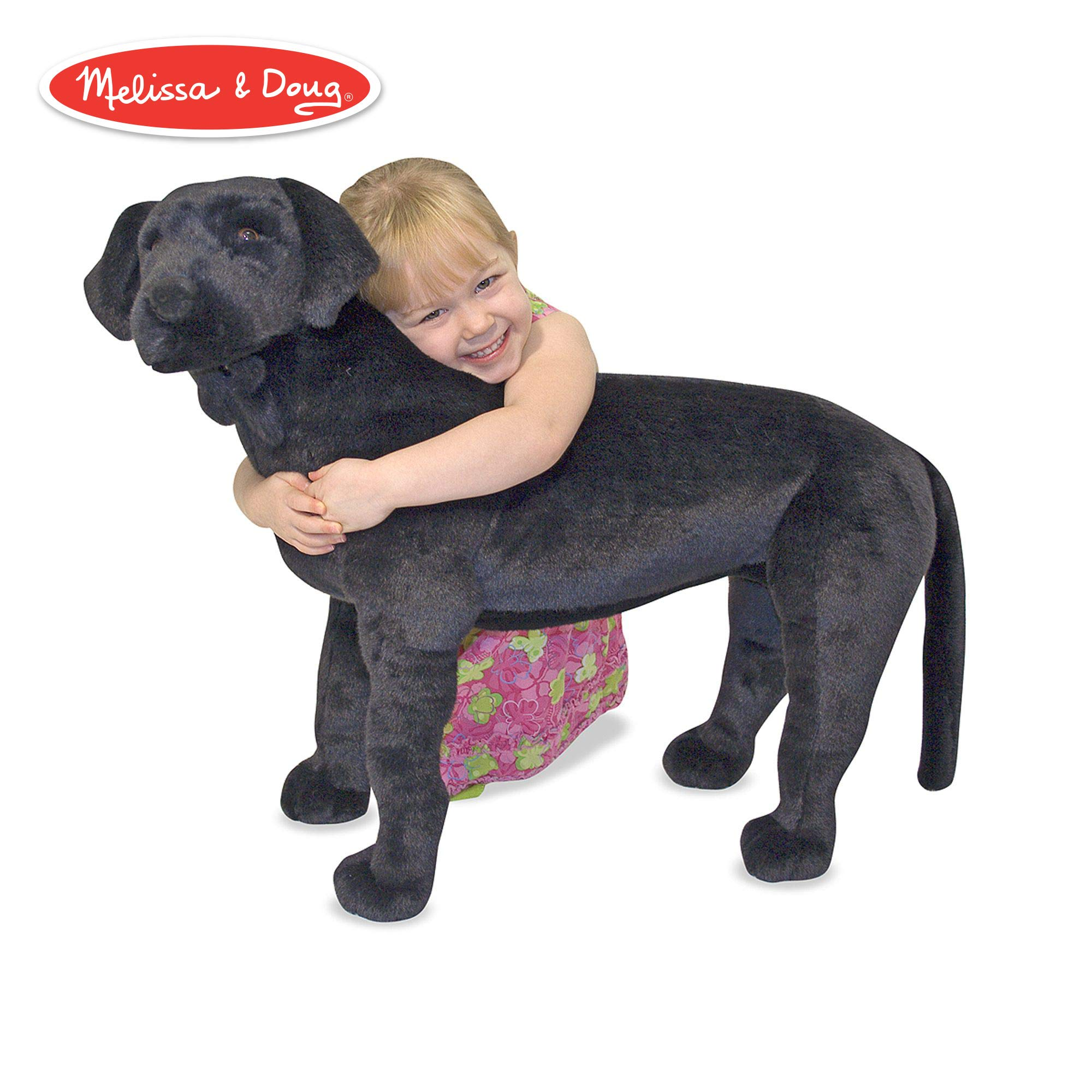 Melissa & Doug Black Lab Giant Stuffed Animal (Wildlife, Soft Fabric, Beautiful Black Lab Markings, 30.5'' H X 19.5'' W X 9.5'' L) by Melissa & Doug