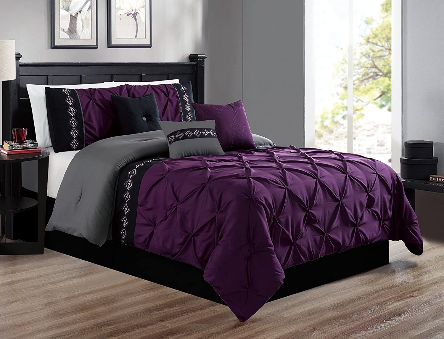 Grand Linen 7 Pieces King Size Dark Purple/Grey/Black Double-Needle Stitch Pinch Pleat All-Season Bedding-Goose Down Alternative Embroidered Comforter Set