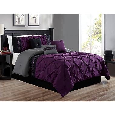 7 Pieces KING size Dark Purple / GREY / BLACK Double-Needle Stitch Pinch Pleat All-Season Bedding-Goose Down Alternative Embroidered Comforter Set