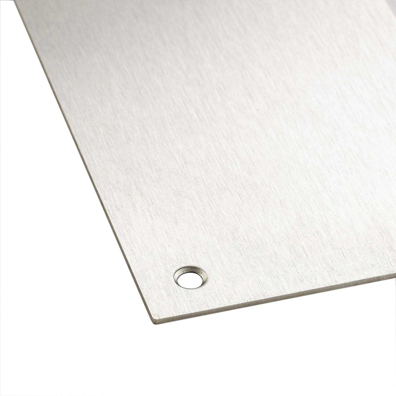 MwSt-Registriert 1,2 mm Befestigungen enthalten quadratische Ecktrittplatte Trittplatte aus satiniertem Edelstahl 760 x 150 mm