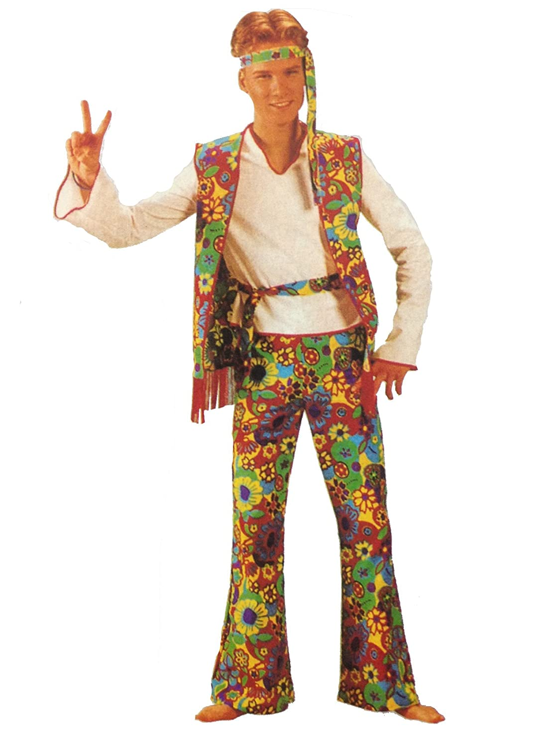 1960s Men's Costumes Hippie Man Flower Power 5pc Complete Costume in 2 Sizes  AT vintagedancer.com